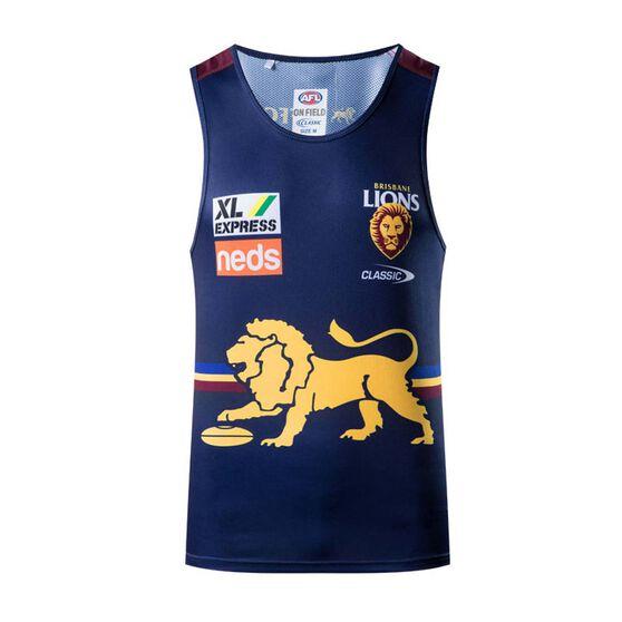 Brisbane Lions 2021 Mens Training Singlet, Blue, rebel_hi-res