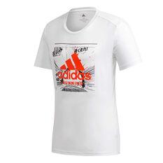 adidas Mens Fast Graphic Tee White S, White, rebel_hi-res