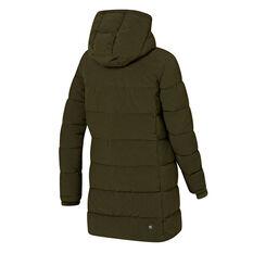 Ell & Voo Womens Analeigh Longline Hooded Puffer Jacket, Khaki, rebel_hi-res