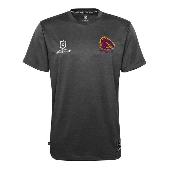 Brisbane Broncos 2021 Kids Performance Tee, Grey, rebel_hi-res