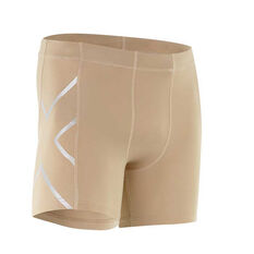2XU Mens Compression Half Shorts Beige XS Adult, Beige, rebel_hi-res