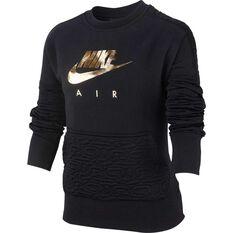 Nike Air Girls Fleece Sweatshirt Black / Gold XS, Black / Gold, rebel_hi-res