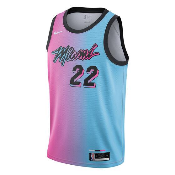 Nike Miami Heat Jimmy Butler 2020/21 Mens City Swingman Jersey Pink/Blue S, Pink/Blue, rebel_hi-res