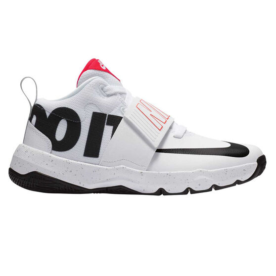Nike Team Hustle D 8 Just Do It Kids Basketball Shoes, White / Black, rebel_hi-res