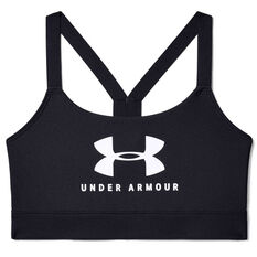 Under Armour Womens Mid Sportstyle Graphic Sports Bra Black XS, Black, rebel_hi-res