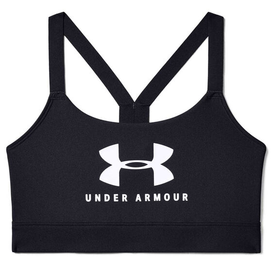 Under Armour Womens Mid Sportstyle Graphic Sports Bra, Black, rebel_hi-res