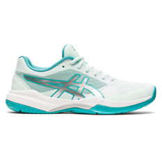 Asics GEL Game 7 Womens Netball Shoes Green/Silver US 6, Green/Silver, rebel_hi-res