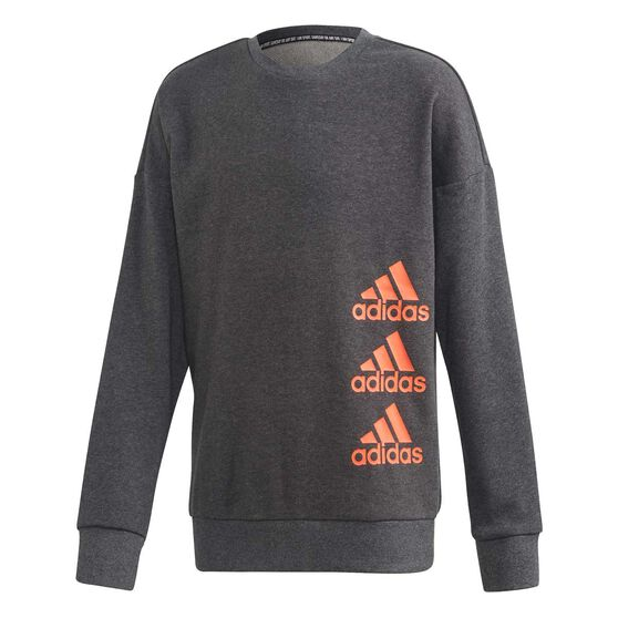 adidas Girls Must Haves Crew Sweatshirt, Grey / Coral, rebel_hi-res