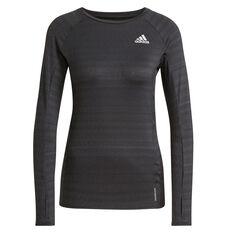 adidas Womens Runner Long Sleeve Tee Black XS, Black, rebel_hi-res