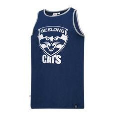 Geelong Cats Mens Supporter Logo Tank Blue S, Blue, rebel_hi-res