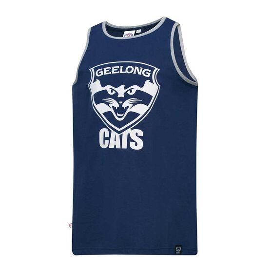 Geelong Cats Mens Supporter Logo Tank, Blue, rebel_hi-res