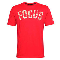 Under Armour Mens Project Rock Mahalo Tee Red XS, Red, rebel_hi-res