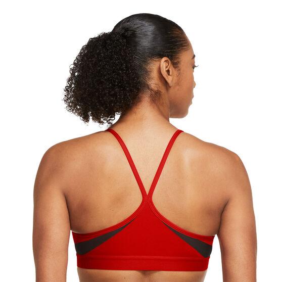 Nike Womens Dri-FIT Indy V Neck Sports Bra, Red, rebel_hi-res