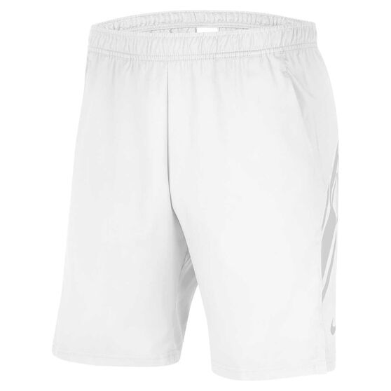 NikeCourt Mens Dri FIT 9in Tennis Shorts White XL, White, rebel_hi-res