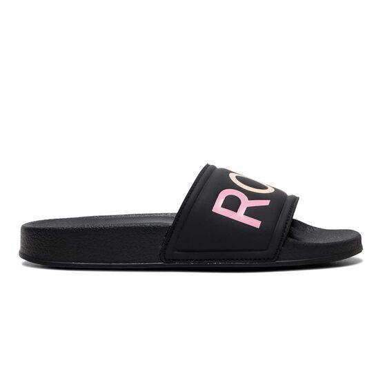 Roxy Slippy Kids Slides, Black, rebel_hi-res