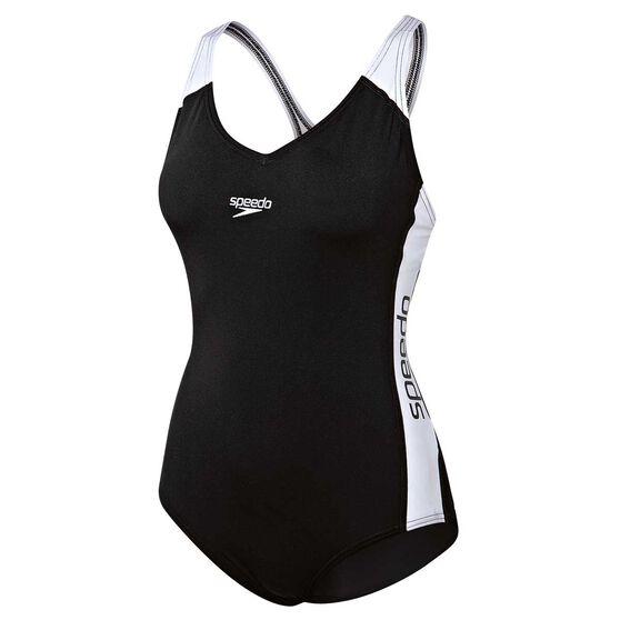 Speedo Womens Splice Swimsuit, Black / White, rebel_hi-res