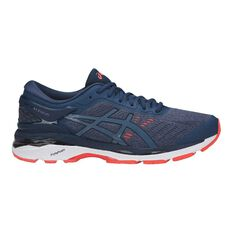 Asics GEL Kayano 24 2E Mens Running Shoes Navy / Orange US 8, Navy / Orange, rebel_hi-res