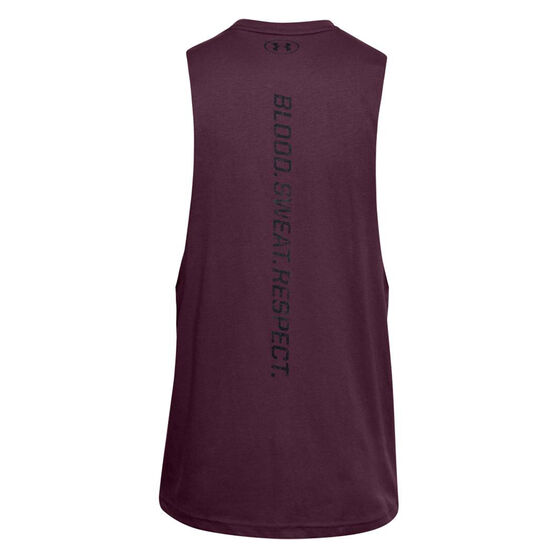 Under Armour Mens Project Rock Blood Sweat Respect Tank, Purple, rebel_hi-res