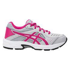 Asics Gel 195TR Leather Girls Running Shoes White / Grey US 1, White / Grey, rebel_hi-res