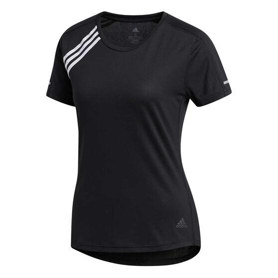 adidas Womens 3-Stripes Run It Tee, Black, rebel_hi-res