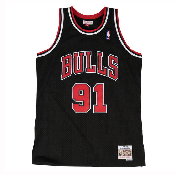 Chicago Bulls Dennis Rodman 97/98 Mens Alternate Swingman Jersey Black / Red M, Black / Red, rebel_hi-res