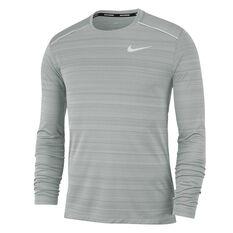 Nike Mens Dri-FIT Miler Running Top Grey S, Grey, rebel_hi-res