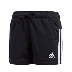 adidas Girls Essentials 3-Stripes Mid Shorts Black / White 6, Black / White, rebel_hi-res