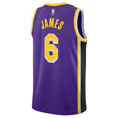 Jordan Los Angeles Lakers LeBron James 2021/22 Mens Statement Jersey Purple S, Purple, rebel_hi-res
