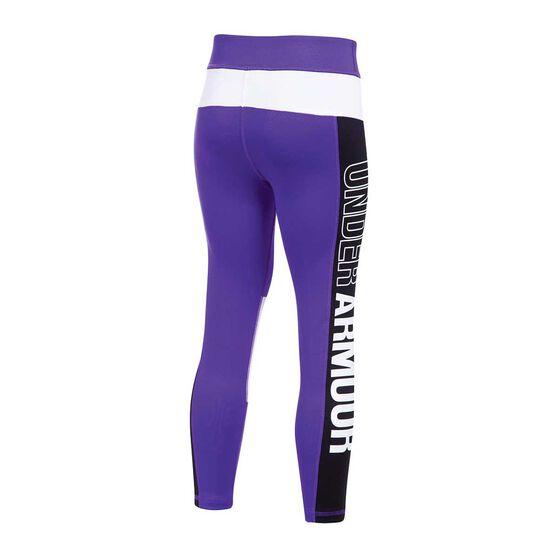 Under Armour Girls Crop Leggings, Purple / Black, rebel_hi-res
