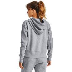 Under Armour Womens UA Rival Fleece Embroidered Full Zip Hoodie, Grey, rebel_hi-res