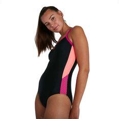 Speedo Womens Dive Thinstrap Muscleback One Piece Black/Pink 8 8, Black/Pink, rebel_hi-res