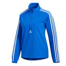 adidas Womens Woven 3-Stripes Half Zip Training Top Blue XS, Blue, rebel_hi-res
