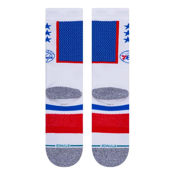 Stance Philadelphia 76ers 2020 Shortcut 2 Socks Multi L, Multi, rebel_hi-res