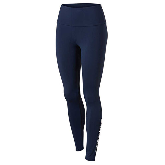 Running Bare Womens Ab Waisted Word On The Street Tights, Navy, rebel_hi-res