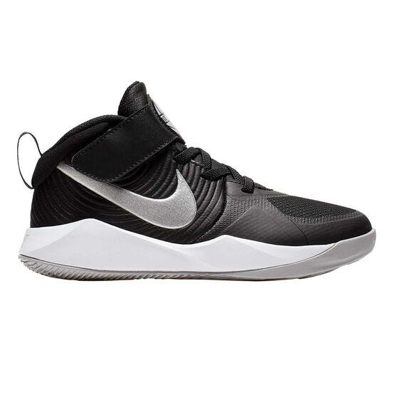 Nike Team Hustle D 9 Kids Basketball Shoes, Black / White, rebel_hi-res