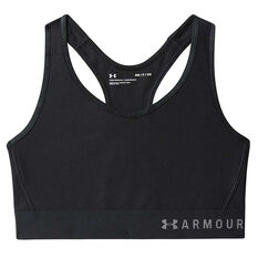 Under Armour Womens Armour Mid Keyhole Sports Bra Black XS, Black, rebel_hi-res