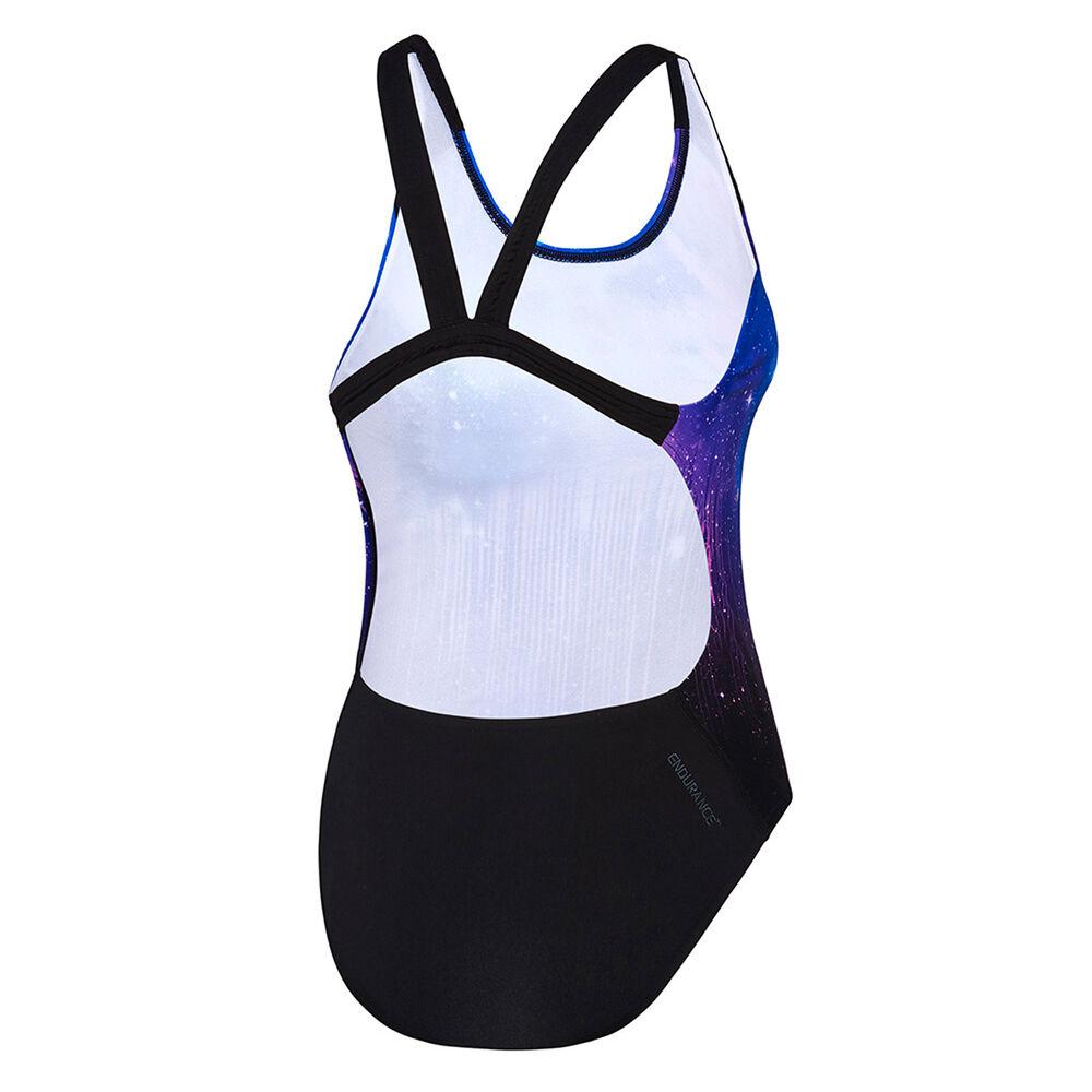 435ec870d6 Speedo Womens Powerstrike Galaxy Leaderback One-Piece Swimsuit, Blue /  Black, rebel_hi-