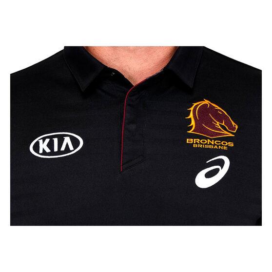 Brisbane Broncos 2021 Mens Media Polo, Black, rebel_hi-res