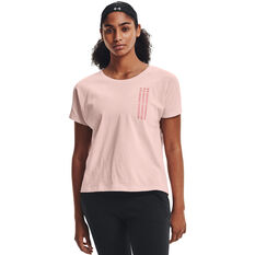 Under Armour Womens Repeat Wordmark Graphic Tee Pink XS, Pink, rebel_hi-res