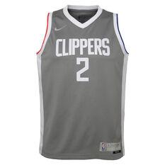 Nike Los Angeles Clippers Kawhi Leonard 2020/21 Kids Earned Jersey Grey S, Grey, rebel_hi-res