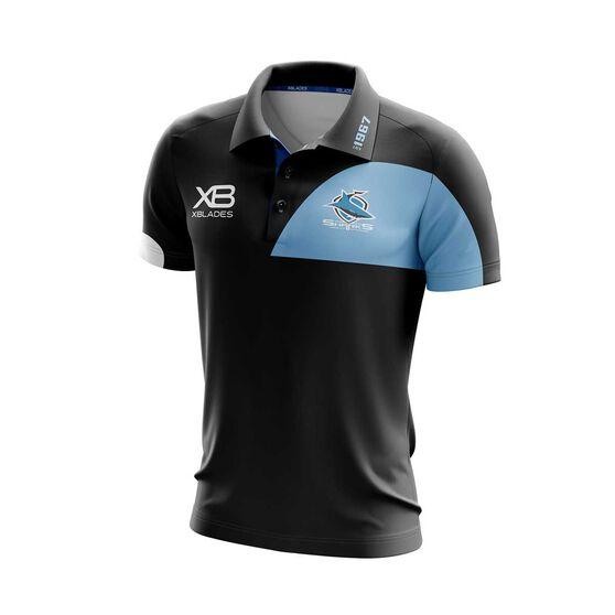 Cronulla-Sutherland Sharks 2019 Media Polo, Black / Blue, rebel_hi-res