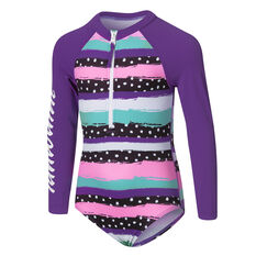 Tahwalhi Toddler Girls Polka Stripes Long Sleeve Swimsuit Purple 3, Purple, rebel_hi-res