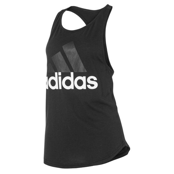 adidas Womens Essential Linear Logo Tank, Black / White, rebel_hi-res