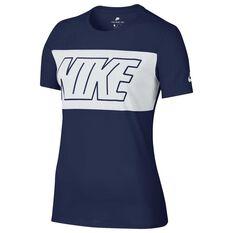 Nike Womens Sportswear Block Tee Navy XS Adult, Navy, rebel_hi-res