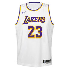 Nike Los Angeles Lakers LeBron James Association 2020/21 Kids Swingman Jersey White S, White, rebel_hi-res