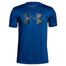 Under Armour Boys Big Logo Solid Tee Blue / Black XS, Blue / Black, rebel_hi-res