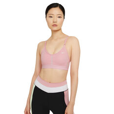 Nike Womens Dri-FIT Indy V Neck Sports Bra Pink XS, Pink, rebel_hi-res