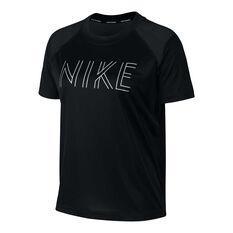 Nike Womens Dri-FIT Miller Metallic Running Tee Black XS, Black, rebel_hi-res