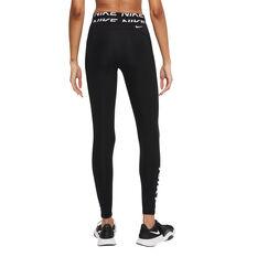 Nike Pro Womens Dri-FIT Mid-Rise Graphic Leggings Black XS, Black, rebel_hi-res
