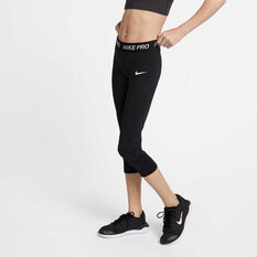 Nike Pro Girls Capris, Black / White, rebel_hi-res
